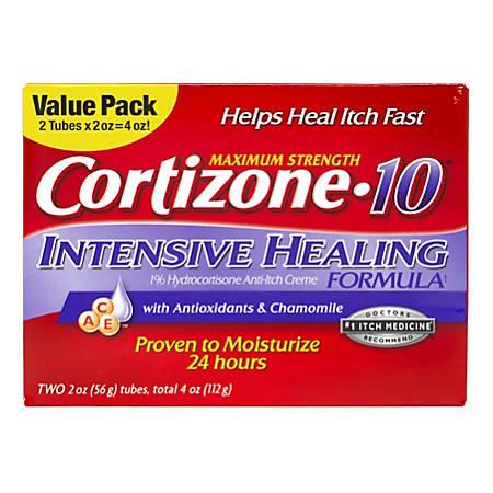 Cortizone-10 Maximum Strength Intensive Healing Hydrocortisone Anti-Itch Cream, 2 Oz, Box Of 2 Tubes