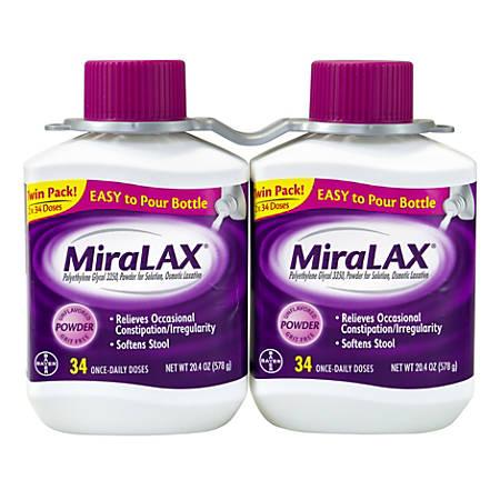 MiraLAX Laxative Powder, 20.4 Oz, Pack Of 2 Bottles