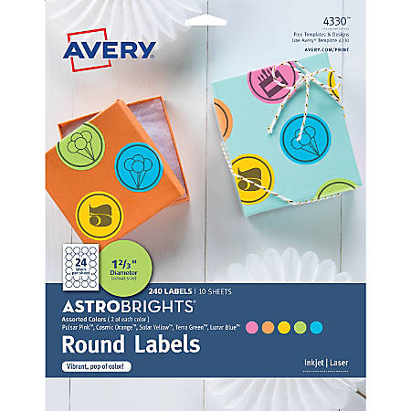 """Avery® Astrobrights® Easy Peel Labels, 4330, 1 5/8"""", Assorted Colors, Pack Of 240"""