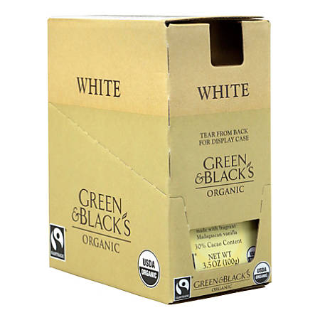 Green & Black's Organic White Chocolate with Vanilla Bars, 3.5 Oz, Pack Of 10 Bars