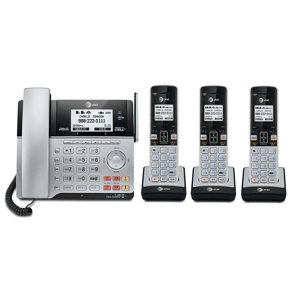 When your business is growing, a 2-line expandable phone system is a great solution for keeping pace with your busy day. Six handsets make it easy to pick up calls in multiple locations, and expansion handsets (sold separately) can be added as your needs evolve.  Includes a base station with digital answering system and 4 cordless handsets and is expandable up to 12 handsets (additional handsets sold separately).  DECT 6.0 technology delivers great sound quality.  2-line operation supports multiple business lines or simultaneous business and personal use.  Digital answering system lets callers record messages when you are not in the office.  LCD screen provides a view of caller details in an instant.  Caller ID lets you quickly see who is calling. Caller ID service required from your local telephone company.  2-way conferencing means you can chat with multiple callers at the same time.  Speakerphone allows hands-free conversations.  Backed by the manufacturer's 1-year limited warranty.