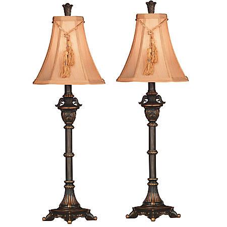 Kenroy Rowan Buffet Lamps, Metallic Bronze/Butterscotch, Pack Of 2