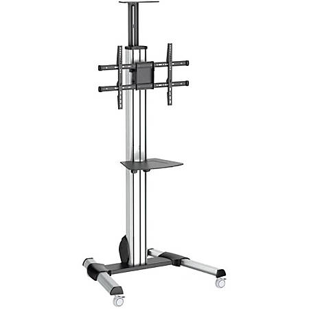 "StarTech.com TV Cart - For 32"" to 75"" Displays - AV Cart - Height Adjustable - Lockable Wheels - Flat Screen TV Cart - Media Cart on Wheels - 1 Shelf - 88.40 lb Capacity - 4 Casters - Steel, Aluminum, Plastic - 27.6"" Length x 32.6"" Width x 84.3"" Height"