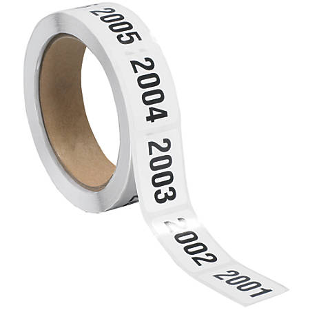 """Tape Logic® Consecutive Numbered Labels, DL1245, 2001 - 2500, Rectangle, 1"""" x 1 1/2"""", Black/White, Roll Of 500"""