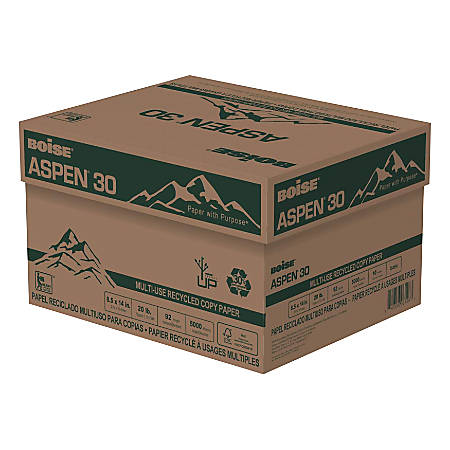 """Boise® ASPEN® 30 Multi-Use Paper, Legal Size (8 1/2"""" x 14""""), 20 Lb, 30% Recycled, FSC® Certified, Ream Of 500 Sheets, Case Of 10 Reams"""