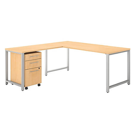 "Bush Business Furniture 400 Series 72""W L Shaped Desk with 48""W Return and 3 Drawer Mobile File Cabinet, Natural Maple, Standard Delivery"
