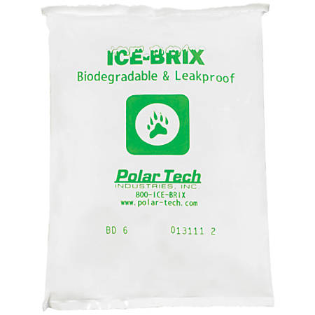 "Ice-Brix™ Biodegradable Cold Packs, 6 Oz, 5 1/2""H x 4""W x 3/4""D, White, Case Of 96"