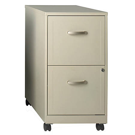 """Realspace® 18""""D 2-Drawer Metal Mobile Vertical File Cabinet, Stone"""