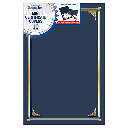 """Geographics® Linen Mini Certificate Covers, 9-3/4"""" x 6-1/2"""", Navy, Pack Of 10 Covers"""