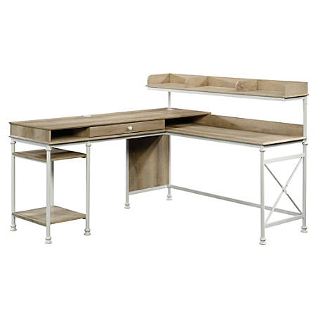 Sauder® Canal Street L-Shaped Computer Desk, Coastal Oak/White