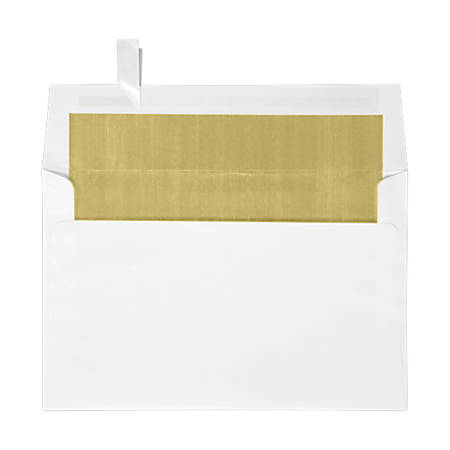 """LUX Invitation Envelopes With Peel & Press Closure, A9, 5 3/4"""" x 8 3/4"""", Gold/White, Pack Of 1,000"""