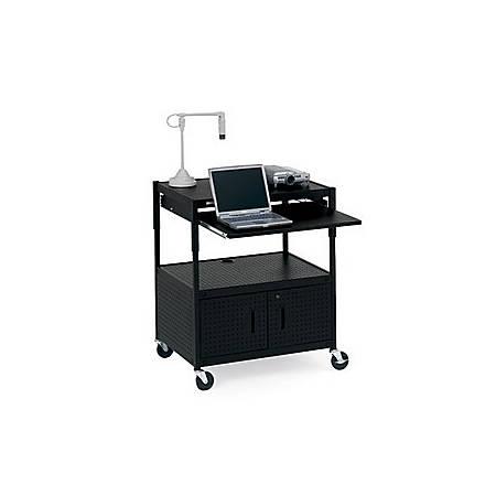 Bretford ECILS3FF-BK Adjustable Multipurpose Cart with Cabinet - Black