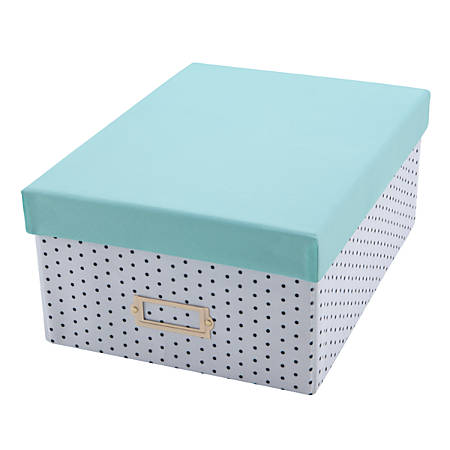 """See Jane Work® Collapsible Box With Lid, 6""""H x 11""""W x 15""""D, Blue"""