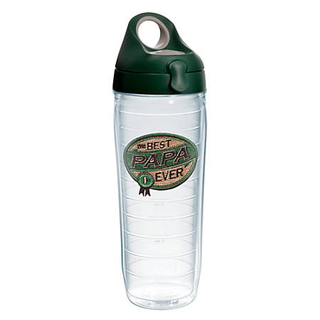 Tervis Hallmark Best Papa Ever Water Bottle With Lid, 24 Oz, Clear