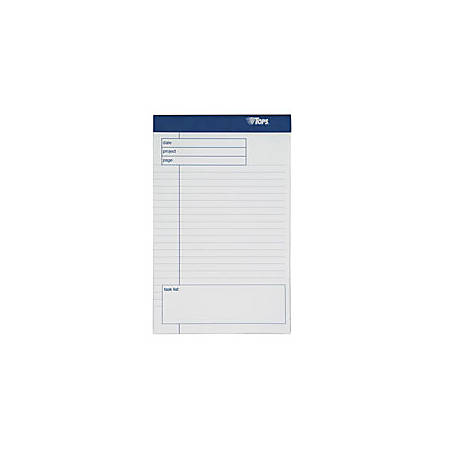 """TOPS™ Docket Gold™ Premium Writing Pads, 5"""" x 8"""", Wide Ruled, 40 Sheets, White Cover, Pack Of 6 Pads"""