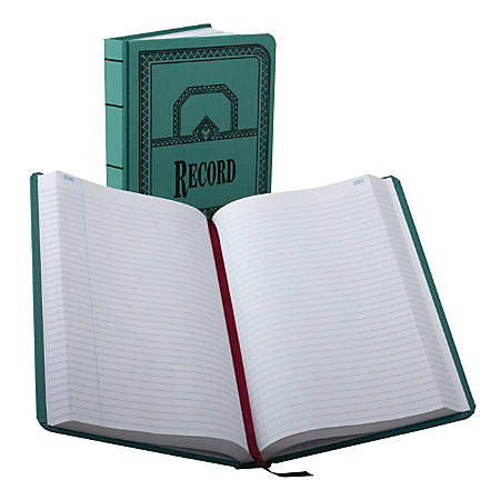 "Boorum & Pease® Canvas Account Book, Record, 16 Lb., 12 1/8"" x 7 5/8"", 500 Pages, Blue"