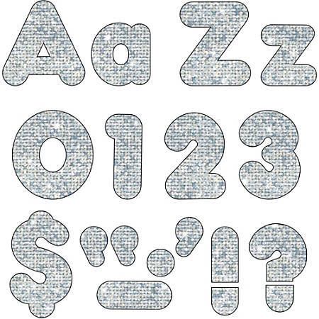 """Trend Sparkle 4"""" Casual Ready Letters Combo Pack - Learning Theme/Subject - 50, 82, 20, 30 (Uppercase Letters, Lowercase Letters, Numbers, Punctuation Marks) Shape - Sparkle - Reusable, Easy to Use, Fade Resistant, Durable - 4"""" Height - Silver - 216 / Pack"""