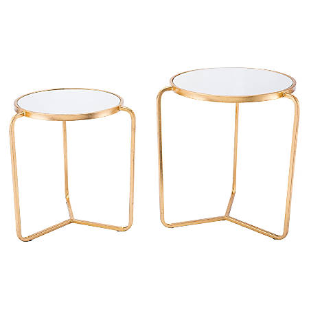 Zuo Modern Nesting Tripod Tables, Round, Mirror/Gold, Set Of 2 Tables