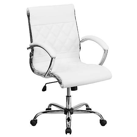 Flash Furniture Designer Leather Mid-Back Swivel Office Chair, White/Chrome