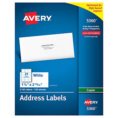 """Avery® Copier Permanent Address Labels, 5360, 1 1/2"""" x 2 13/16"""", White, Pack Of 2,100"""