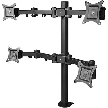 "SIIG CE-MT0S12-S1 Desk Mount for Flat Panel Display - Black - 4 Display(s) Supported - 13"" to 27"" Screen Support - 88 lb Load Capacity"