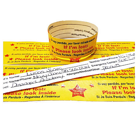 Kenson Parenting Solutions Field Trip Safety ID Bands, Gold, Pack Of 25 Bands