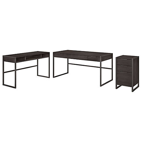 """kathy ireland® Office by Bush Business Furniture Atria 60""""W L-Shaped Desk With 3 Drawer File Cabinet, Charcoal Gray, Standard Delivery"""