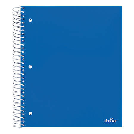 "Office Depot® Brand Stellar Poly Notebook, 8-1/2"" x 11"", 3 Subject, Wide Ruled, 300 Pages (150 Sheets), Blue"