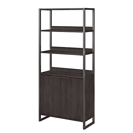 kathy ireland® Office by Bush Business Furniture Atria 5 Shelf Bookcase With Doors, Charcoal Gray, Standard Delivery