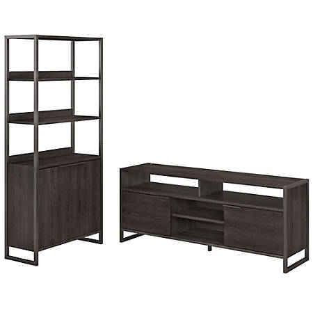 kathy ireland® Home by Bush Furniture Atria TV Stand And 5 Shelf Bookcase  With Doors, Charcoal Gray, Standard Delivery Item # 9436158