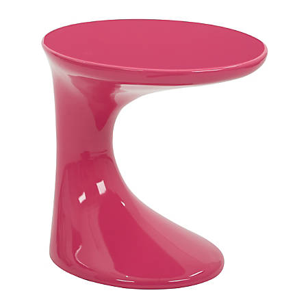 Ave Six Slick End Table, Round, High-Gloss Pink/Pink