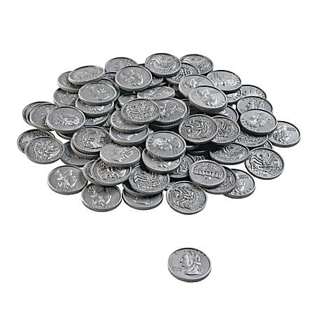 """Learning Resources® Bulk Play Money, Quarters, 1"""" x 1"""", Grades Pre-K - 8, Pack Of 100"""