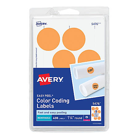 "Avery® Removable Round Color-Coding Labels, 5476, 1 1/4"" Diameter, Neon Orange, Pack Of 400"