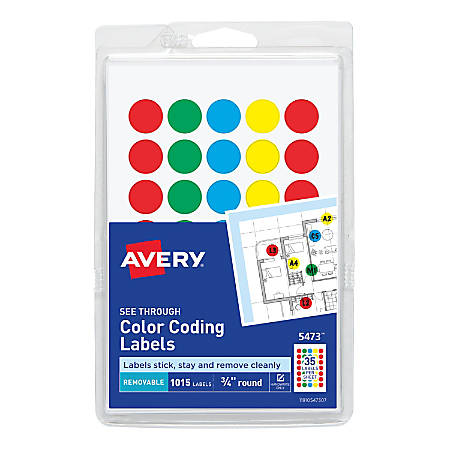 """Avery® Removable Color-Coding Round Labels, 5473, 3/4"""", Assorted Colors, Pack Of 1,015"""