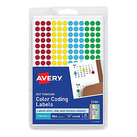 "Avery® Removable Color-Coding Round Labels, 5796, 1/4"", Assorted Colors, Pack Of 864"