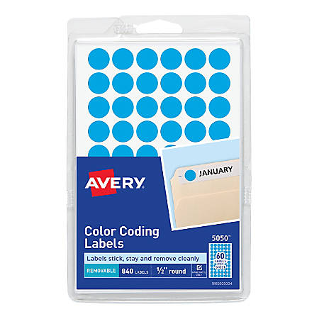 """Avery® Removable Round Color-Coding Labels, 5050, 1/2"""" Diameter, Light Blue, Pack Of 840"""