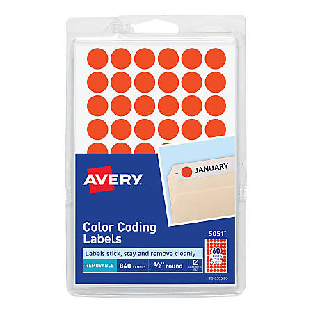 "Avery® Removable Round Color-Coding Labels, 5051, 1/2"" Diameter, Red Glow, Pack Of 840"