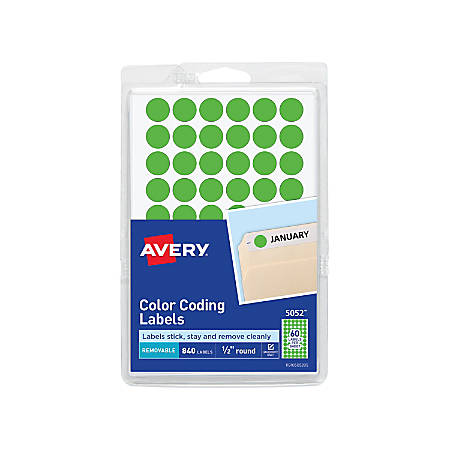 """Avery® Removable Round Color-Coding Labels, 5052, 1/2"""" Diameter, Green Glow, Pack Of 840"""