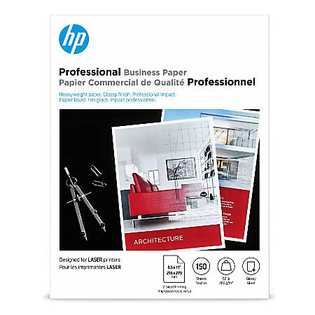 """HP Professional Business Paper for Laser Printers, Glossy, Letter Size (8 1/2"""" x 11""""), Heavyweight 52 Lb, Pack Of 150 Sheets (4WN10A)"""