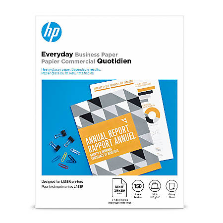 """HP Everyday Business Paper for Laser Printers, Glossy, Letter Size (8 1/2"""" x 11), Heavy 32 Lb, Pack Of 150 Sheets (4WN08A)"""