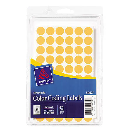 """Avery® 1/2"""" Round Color Coding Labels, AVE05062, Removable Adhesive, 1/2"""" Diameter, Circle, Orange, Paper, 60 Per Sheet, Pack Of 840"""