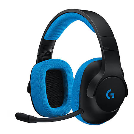 Logitech® G233 Prodigy Over-The-Ear Gaming Headset, Black/Cyan, 981-000701