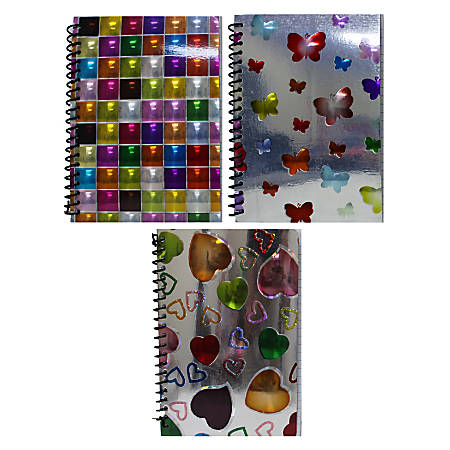 """Inkology Spiral Notebooks, 8"""" x 10-1/2"""", College Ruled, 140 Pages (70 Sheets), Assorted 3-D Designs, Pack Of 12 Notebooks"""