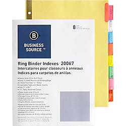 Business Source Reinforced Insertable Tab Indexes