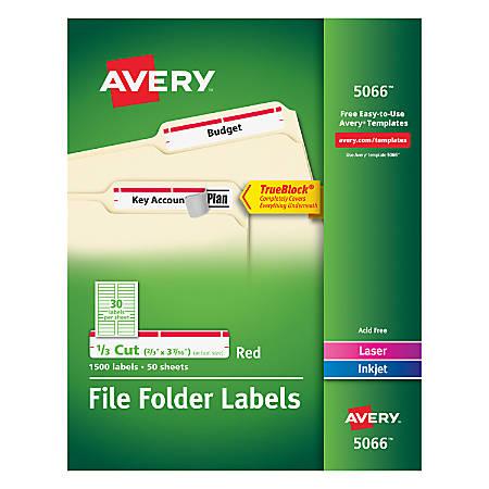 "Avery® TrueBlock® Permanent Inkjet/Laser File Folder Labels, 5066, 2/3"" x 3 7/16"", Red, Box Of 1,500"