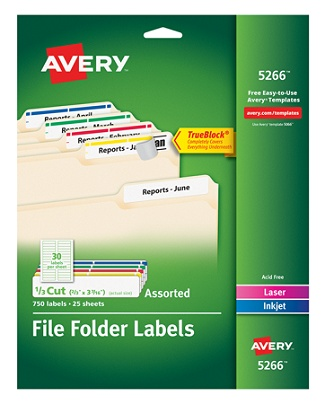 avery trueblock permanent inkjetlaser file folder labels 5266 23 x 3