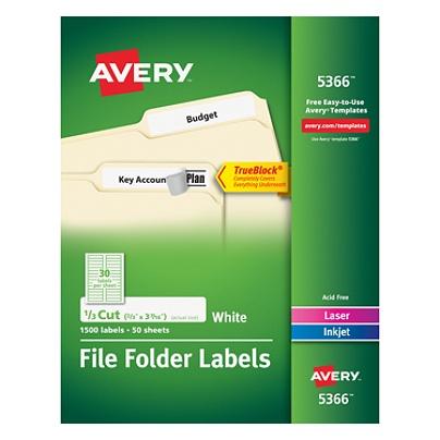 avery trueblock permanent inkjetlaser file folder labels 5366 23 x 3
