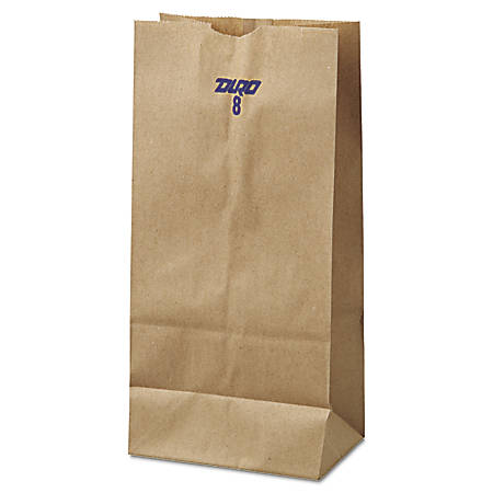 "General Paper Grocery Bags, #8, 6 1/8"" x 4 3/16"" x 12 7/16"", 35 Lb, Brown, Pack Of 500"
