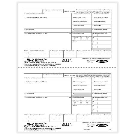 "ComplyRight™ W-2 Tax Forms, Inkjet/Laser, Employee Copy C, 2-Up, 8-1/2"" x 11"", Pack Of 50 Forms"