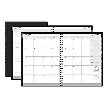"""Office Depot® Brand 18-Month Academic Planner, 9"""" x 11"""", 30% Recycled, Black, July 2019 to December 2020"""